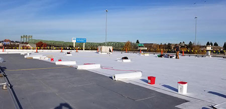 Image of a TPO Roof Installation on a Commercial Roofing Project in Portland Oregon